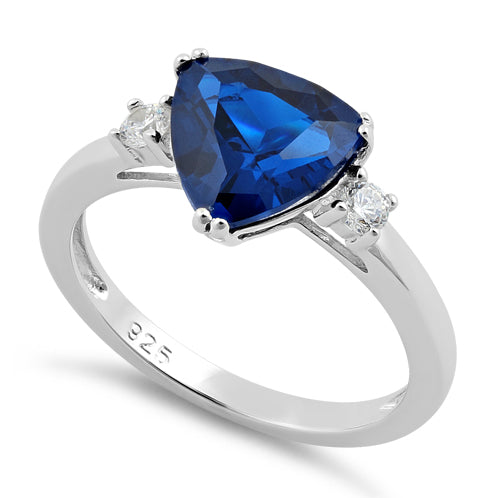 Sterling Silver Trillion Cut Blue Spinel CZ Ring