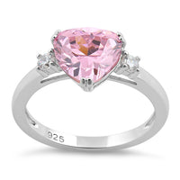 Sterling Silver Trillion Cut Pink CZ Ring