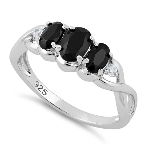 Sterling Silver Triple Oval Black CZ Ring