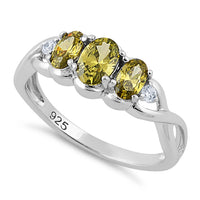 Sterling Silver Triple Oval Peridot CZ Ring