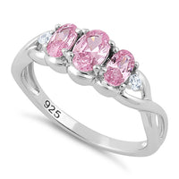 Sterling Silver Triple Oval Pink CZ Ring