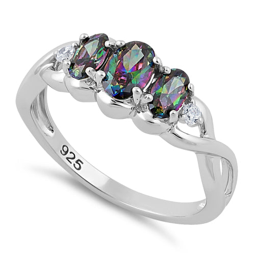 Sterling Silver Triple Oval Rainbow CZ Ring