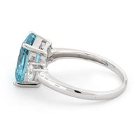 Sterling Silver Triple Rectangular Blue Topaz CZ Ring
