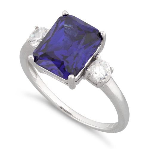 Sterling Silver Triple Rectangular Tanzanite CZ Ring