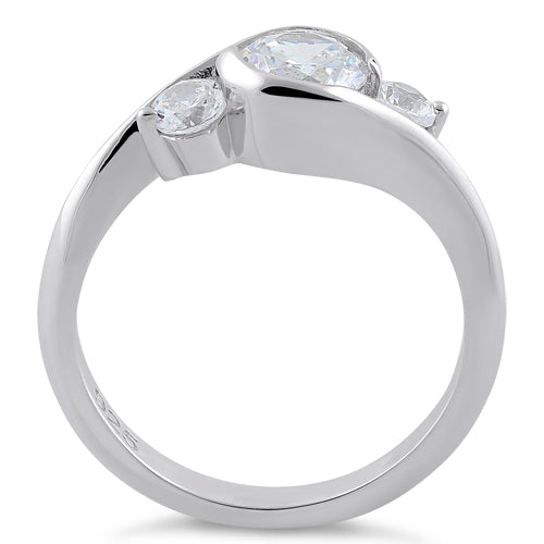Sterling Silver Triple Round Cut Clear CZ Ring