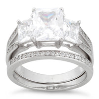 Sterling Silver Triple Square CZ Engagement Set Ring