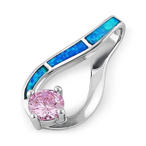 Sterling Silver Twist Blue Lab Opal & Pink Round Cut CZ Pendant