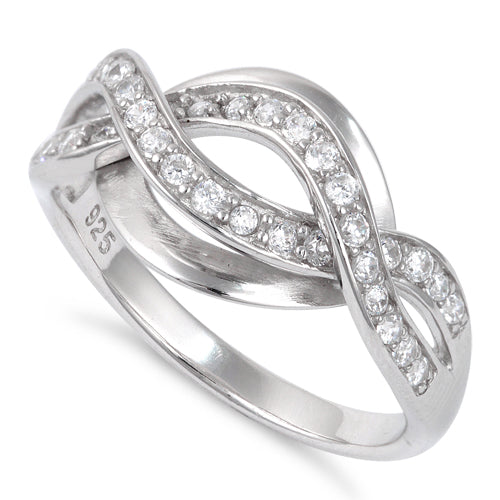 Sterling Silver Twist CZ Ring