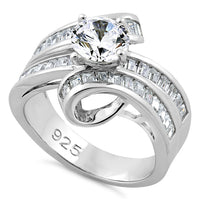 Sterling Silver Twisted Channel CZ Ring