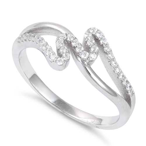 Sterling Silver Twisted Elegant CZ Ring