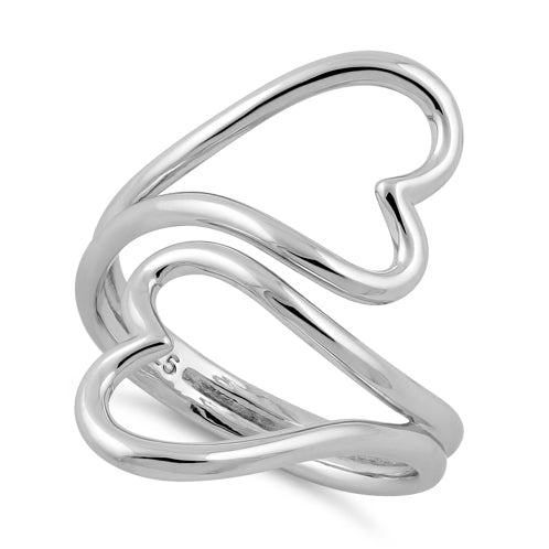 Sterling Silver Two Heart Wire Ring