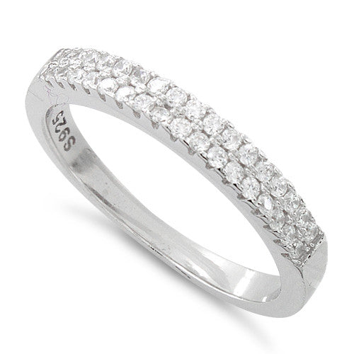 Sterling Silver Two Layer Pave CZ Ring