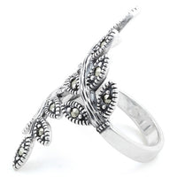 Sterling Silver Two Leaf Marcasite Ring