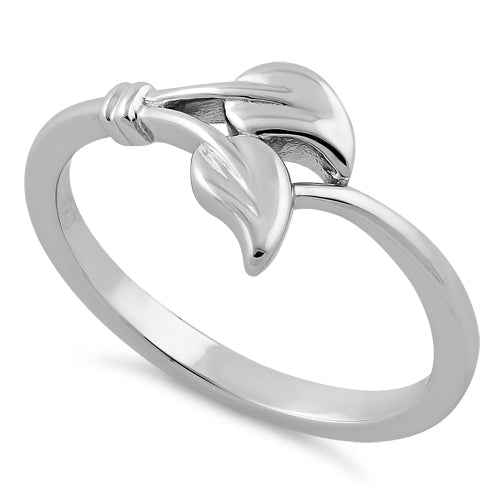 Sterling Silver Two Leaves Ring
