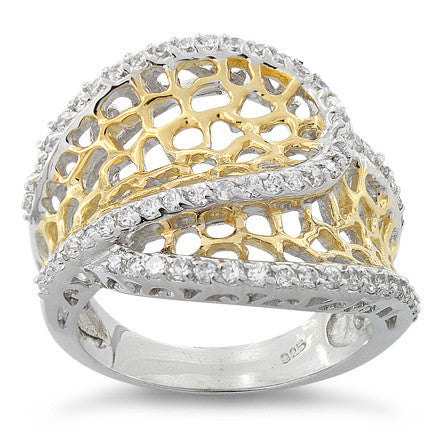 Sterling Silver Two Tone Freeform CZ Ring