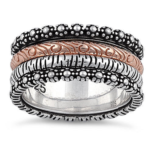 Sterling Silver Two-Tone Rose Gold Forest Spinner Ring