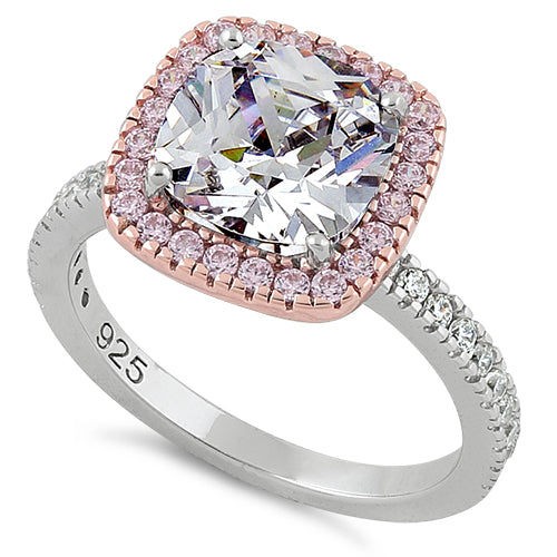 81763e7f4 Sterling Silver Two Tone Rose Gold Plated Cushion Cut Clear & Pink CZ