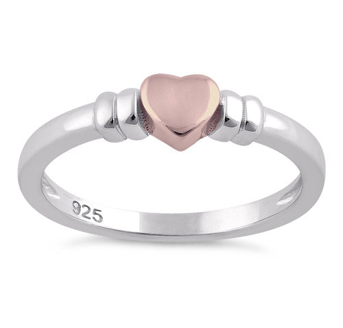 Sterling Silver Two-Tone Rose Gold Plated Heart Ring