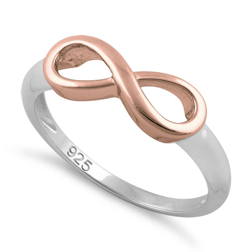 Sterling Silver Two Tone Rose Gold Plated Infinity Ring