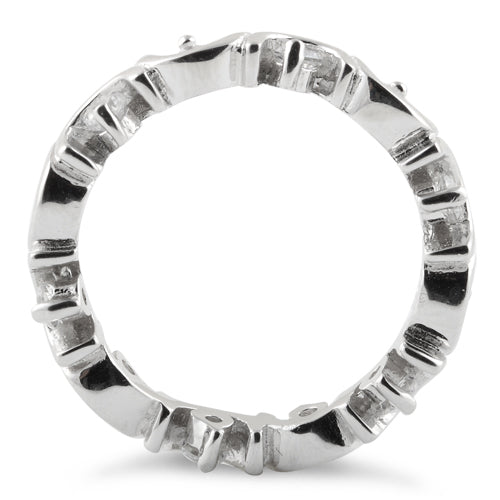 Sterling Silver Unique Eternity CZ Ring