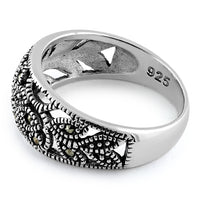 Sterling Silver Unique Flower Marcasite Ring