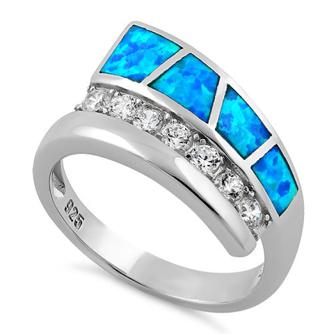 Sterling Silver Unique Lab Opal CZ Ring