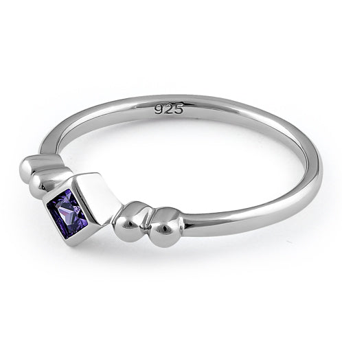 Sterling Silver Unique Square Amethyst CZ Ring