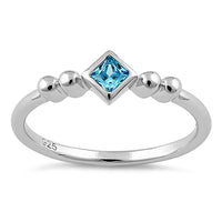 Sterling Silver Unique Square Aqua Blue CZ Ring