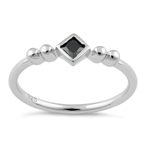 Sterling Silver Unique Square Black CZ Ring