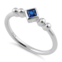 Sterling Silver Unique Square Blue Spinel CZ Ring