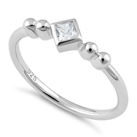 Sterling Silver Unique Square Clear CZ Ring