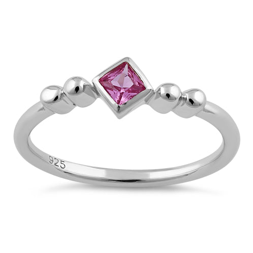 Sterling Silver Unique Square Ruby CZ Ring