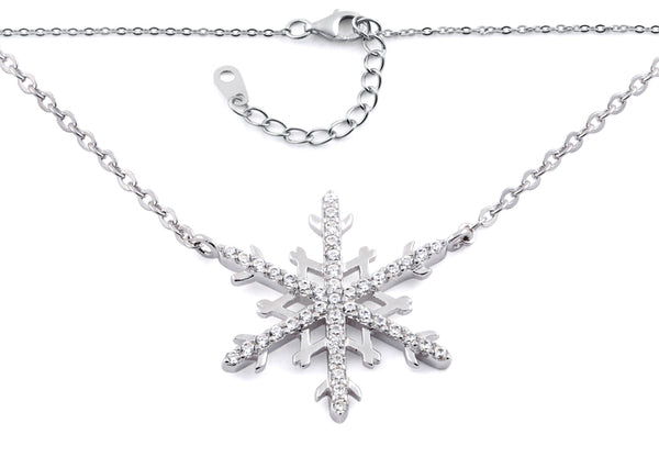 Sterling Silver Unqiue Snowflake Clear CZ 16