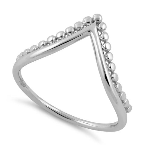 Sterling Silver V Shape Beads Ring
