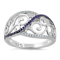 Sterling Silver Vines Amethyst CZ Ring