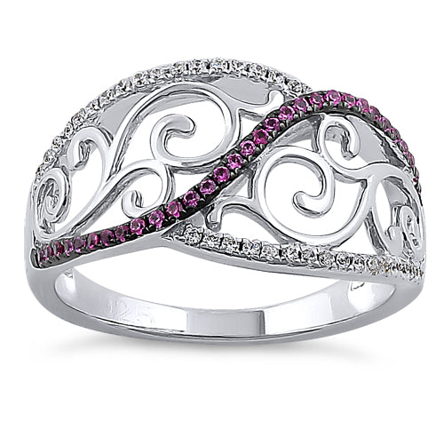Sterling Silver Vines Ruby CZ Ring