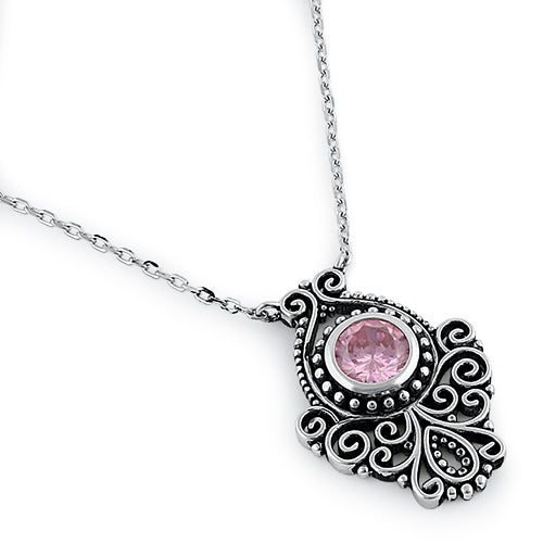 Sterling Silver Vintage Pink CZ Necklace