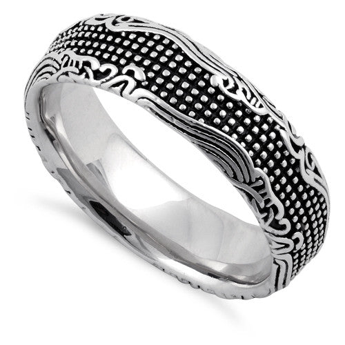 Sterling Silver Waves and Dots Oxidized Ring