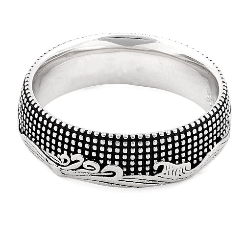 Sterling Silver Waves and Dots Ring
