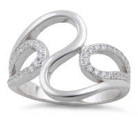Sterling Silver Wavy CZ Ring