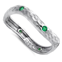Sterling Silver Wavy Hammered Green CZ Ring