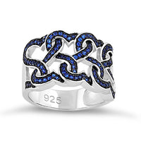 Sterling Silver Wavy Blue Spinel CZ Ring