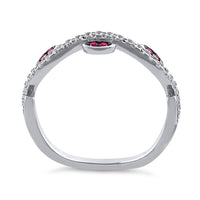 Sterling Silver Wavy Vines Ruby CZ Ring