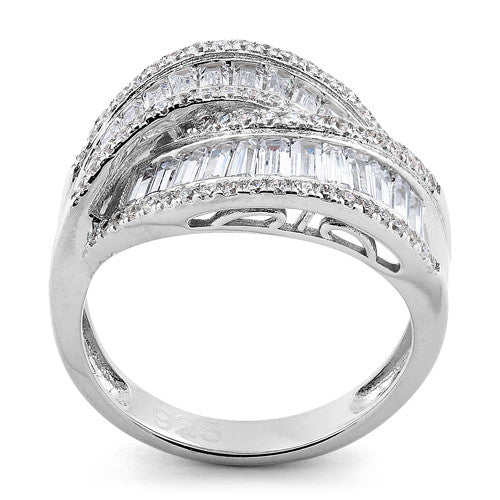 Sterling Silver Weave CZ Ring