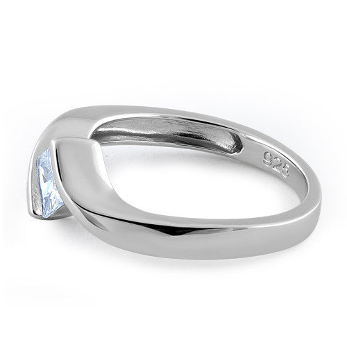Sterling Silver Clear Princess CZ Ring