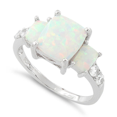 Sterling Silver White Lab Opal Square CZ Ring