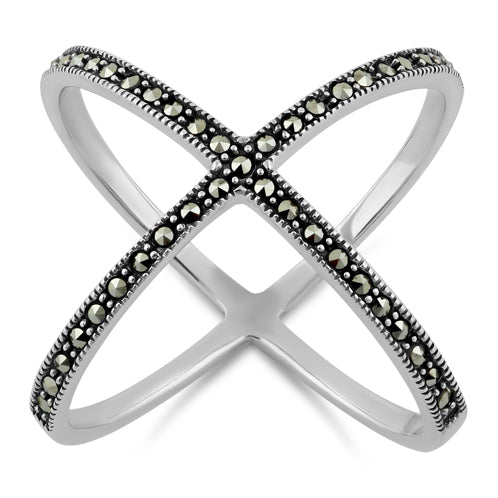 Sterling Silver X Marcasite Ring