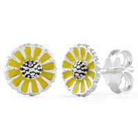 Sterling Silver Yellow Flower Enamel Earrings