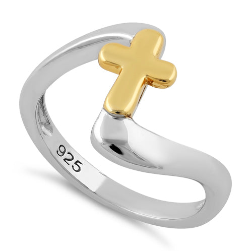 Sterling Silver Yellow Gold Two Tone Cross Ring