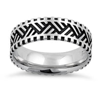 Sterling Silver Zig Zag Pattern Ring